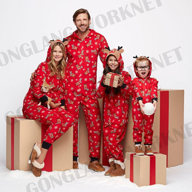2017 Christmas Family Matching Pajamas Sleepwear Nightwear Cute Deer Dad Mother And daughter Kids Baby Clothes Outfits Costume
