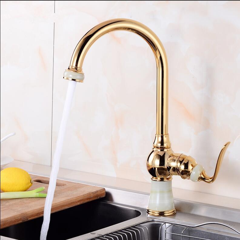 Tall Kitchen Faucets Brass With Marble Kitchen Crane Single Handle Gold Finish 360 Swivel Mixers Taps Tap Sink Mixer