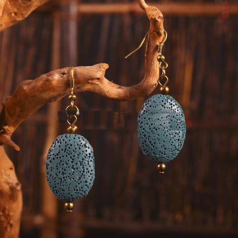 Oval Natural Lava Pendientes de Piedra DIY Aromaterapia Aceite Esencial Difusor Pendientes Accesorios de Vestir Joyas