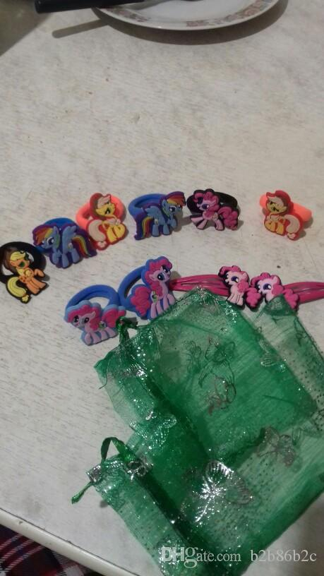 Retail Cute Horses Pony Tails Holder Cartoon Hairbands Headwear Hair Accessory PVC+Elastic Bands Kid Gift Party Favors Hair Jewelry