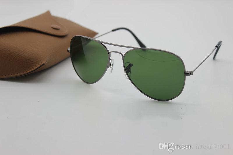 111New high quality AAAAA fashion brand designer, male lady ray Yang sunglasses gold frame brown glass lens 58mmUV400 protection black case