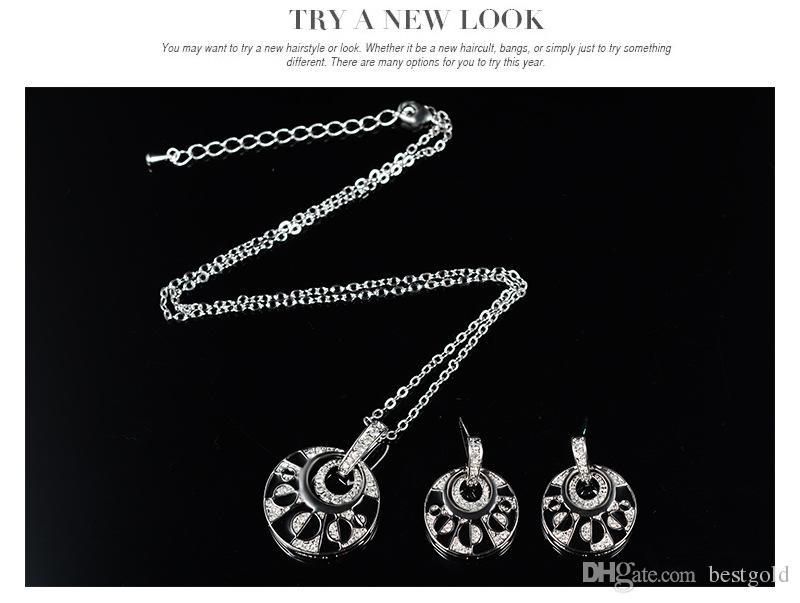 Moda 18 K rodio plateado anillos de diamantes collares establece Negro Onyx Diamond boda nupcial Conjuntos de joyería de traje collar + pendientes