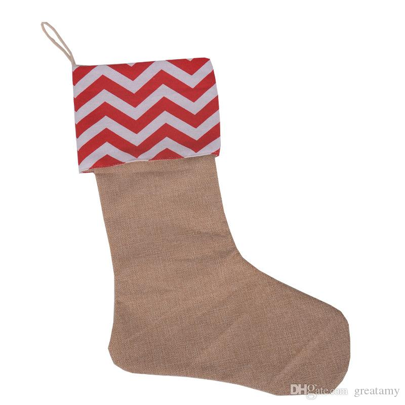 Chirtsmas day children candy gifts packed stockings canvas 7 style chevron x'mas day package sack decoration socks