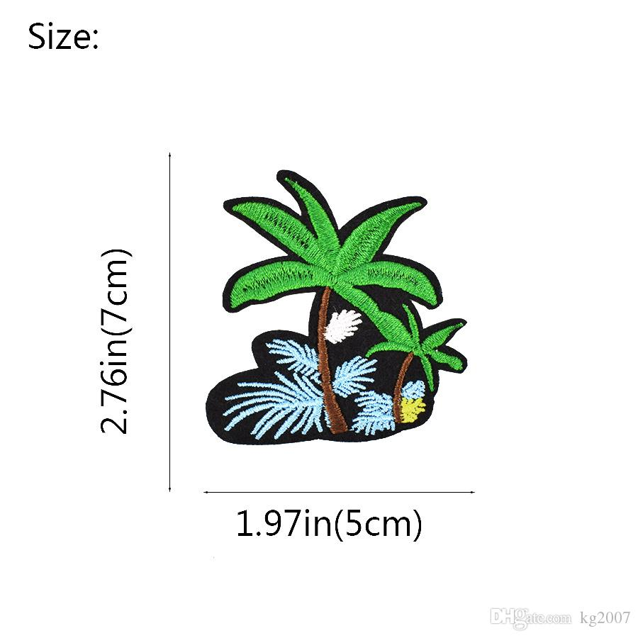 Diy Flower Coconut Tree Embroidery Sewing on Patches Applique Stickers for Clothing Iron Thermo Patches for Garment Accessories Patch