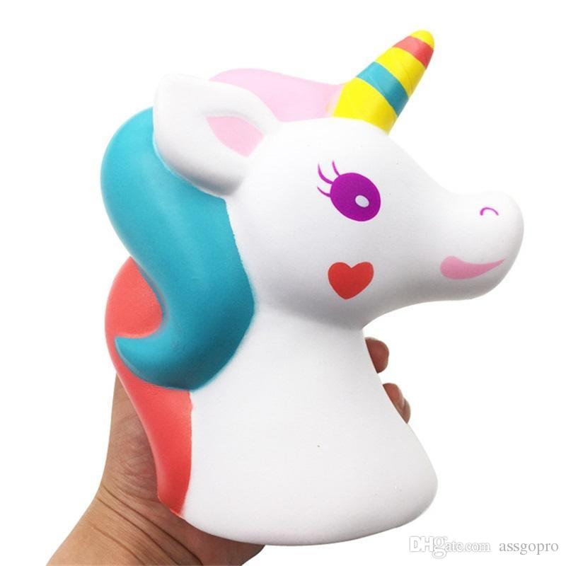 16CM Jumbo Cute Rainbow Colorful Unicorn Squishy Slow Rising Strap Soft Squeeze Cream Scented Bread Cake Kid Toy Gift