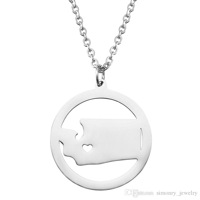 Washington Map Pendant Necklace with Love Heart Stainless Steel USA State WA Geography Map Necklaces Jewelry for Women and Men