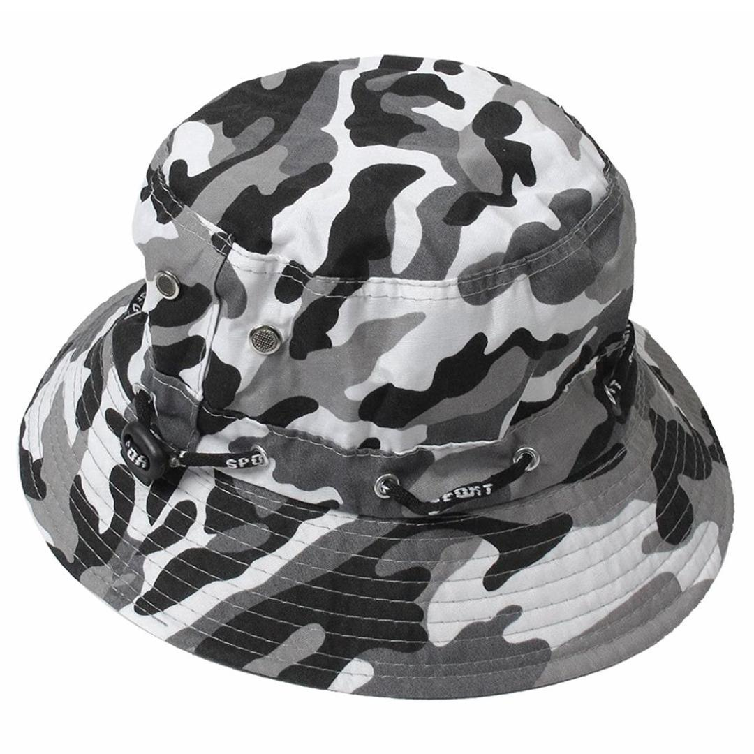 b5630264a95 Camouflage Pattern Needle Brim Cotton Bucket Sun Cap Hat for Man Sun ...