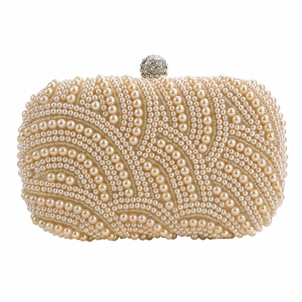 Oval Shaped Pearl Beaded Evening Handbag Women Clutch Bag Elegant ... 3ef93962ec5e