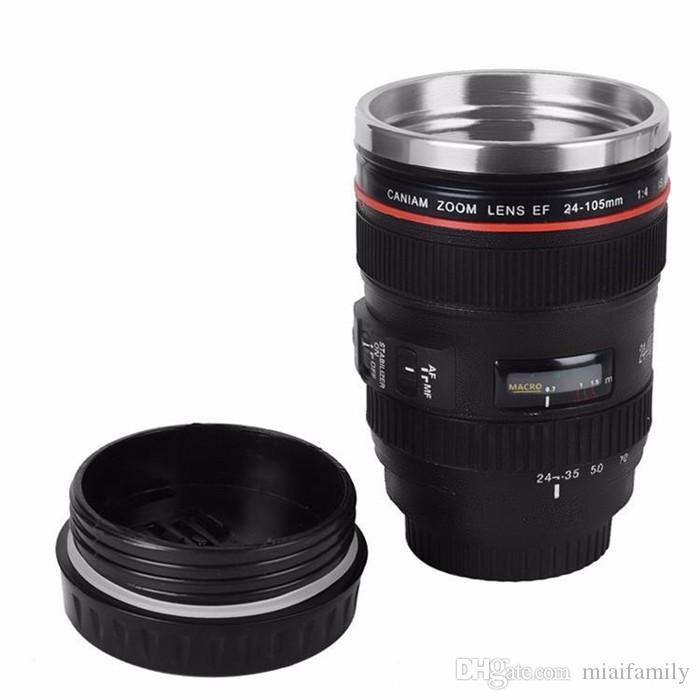 Coffee cup 420ml Stainless steel liner Camera Lens Mugs Coffee Tea Cup Gifts Thermocup Vacuum Thermomug DHL Free