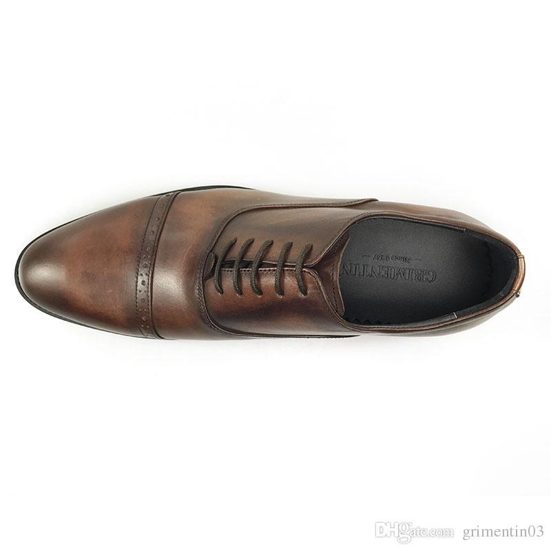 GRIMENTIN İtalyan Moda Erkekler Oxford Ayakkabı Hakiki Deri Kahverengi Resmi İş Düğün Erkek Ayakkabı Moda İtalyan Erkek Deri Ayakkabı JM