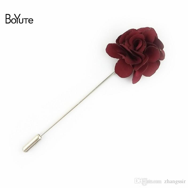 BoYuTe Hand Made 3.5 CM Fabric Flower Lapel Pin Camellia Brooch Pins for Men