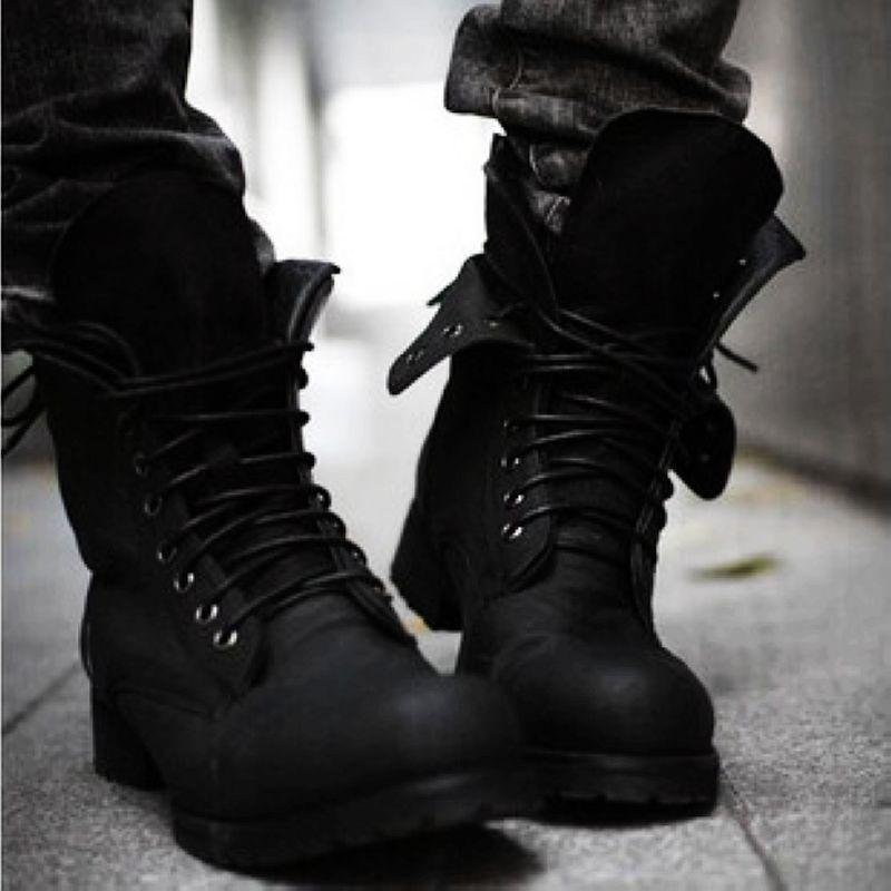 97a43c948c5 Retro Men s British Style Lace Up Combat Boots Wearable Boots Shoes  Black/Brown E75
