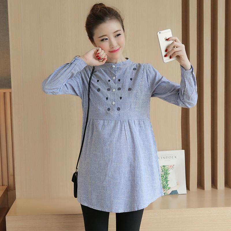 16caa634842 Waist Pleated Embroidery Cotton Maternity Shirt Summer Autumn Blouse ...