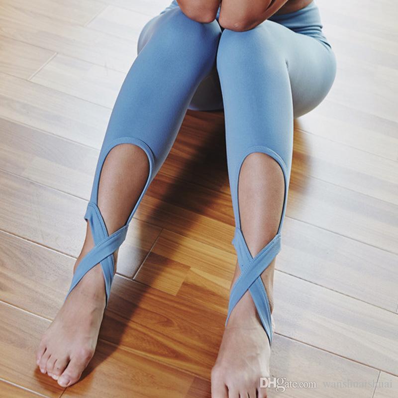 04a5c1ad0e39b 2019 Women Ballerina Yoga Pants Bandage Cropped Leggings Sports Dance Tight Leggings  Fitness Cross Pants Running Tights From Wanshuaishuai, $15.54 | DHgate.