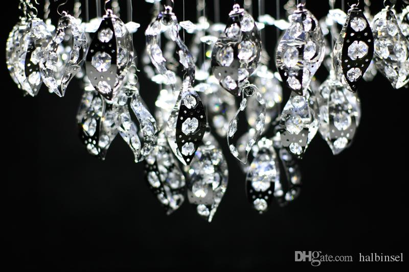 Crystal chandelier leaf shaped stainless steel Lamp tray diameter 15 inch dining room lamp power 30 w