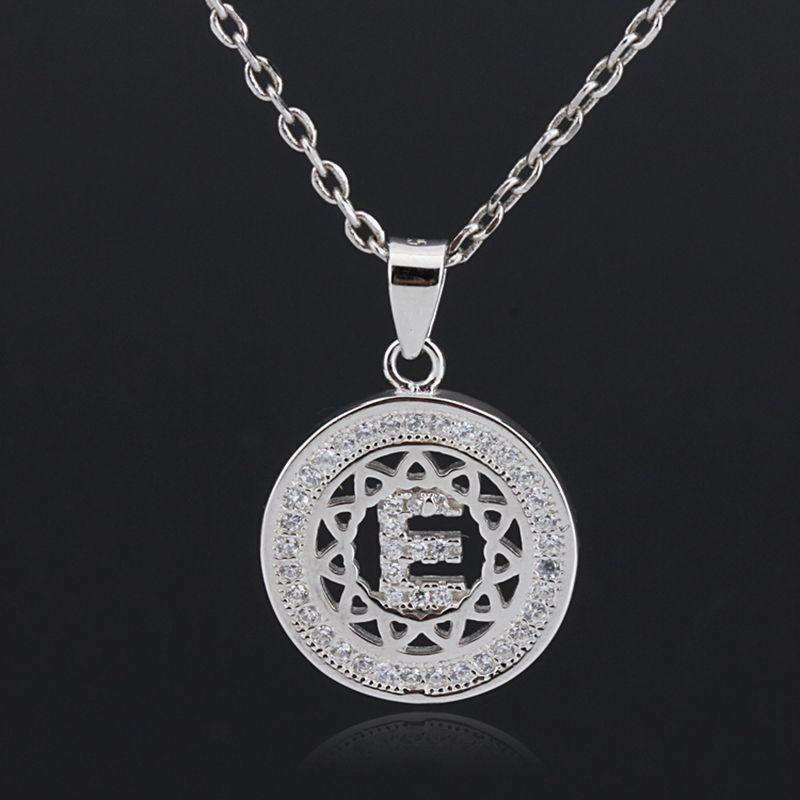 2018 New Fashion Silver English Alphabet Letter E Zircon Pendant Chain Necklace For Women