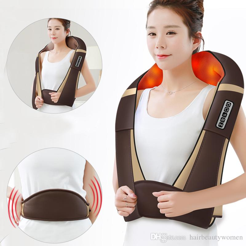 Electric Roller Pillow Heat Device Massage Machine Shiatsu Cervical Back and Neck Massager Shawl For Sale
