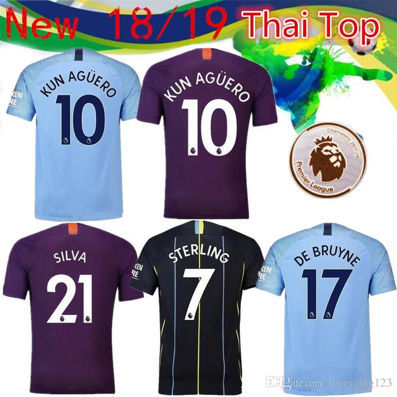 Compre FC Manchester City Jersey Homem 2018 2019 Campeões De Futebol  Emblemas 4 KOMPANY 33 JESUS 10 KUN AGUERO 7 STERLING SANE Camisa De Futebol  Kits De ... 949eb0c47bb34