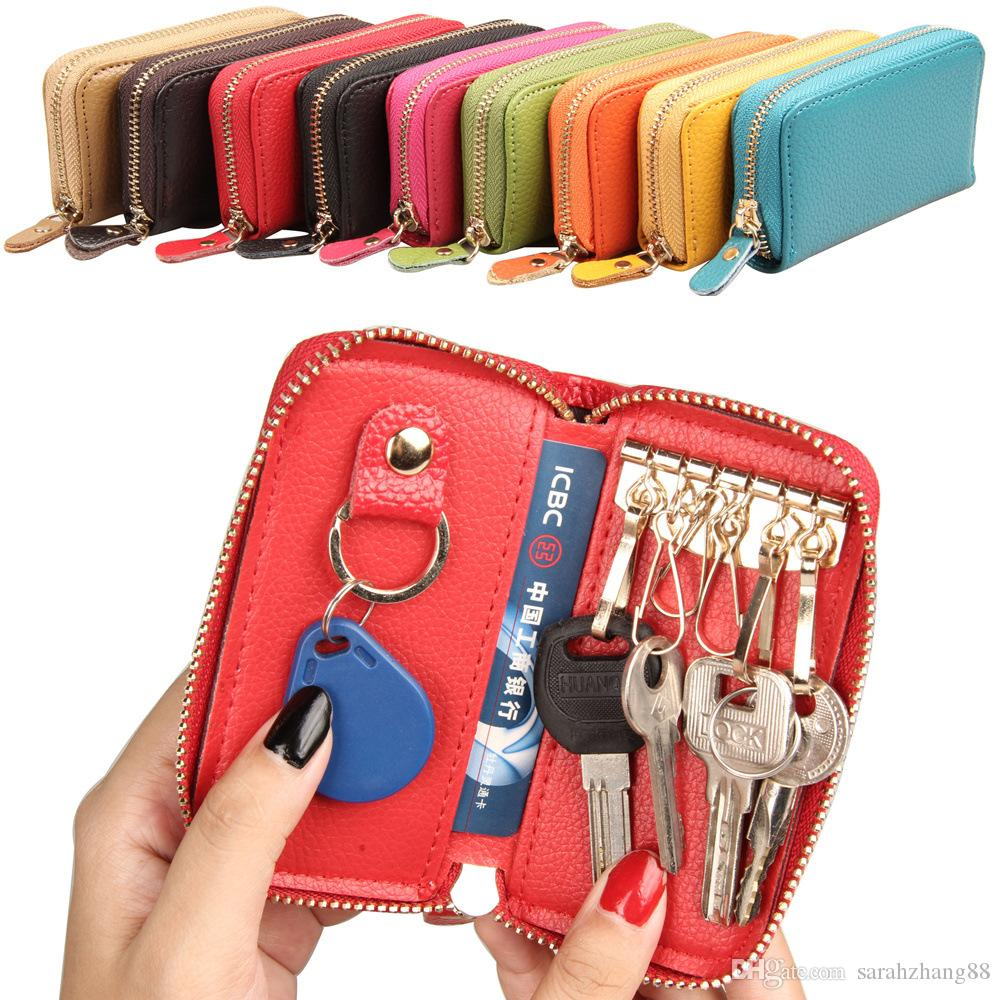 Women S Leather Zip Around 6 Hook Key Case Pocket Size Zipper Closer Car Key  Holder Wallet Womens Wallets Leather Goods From Sarahzhang88 83f7b60bf7
