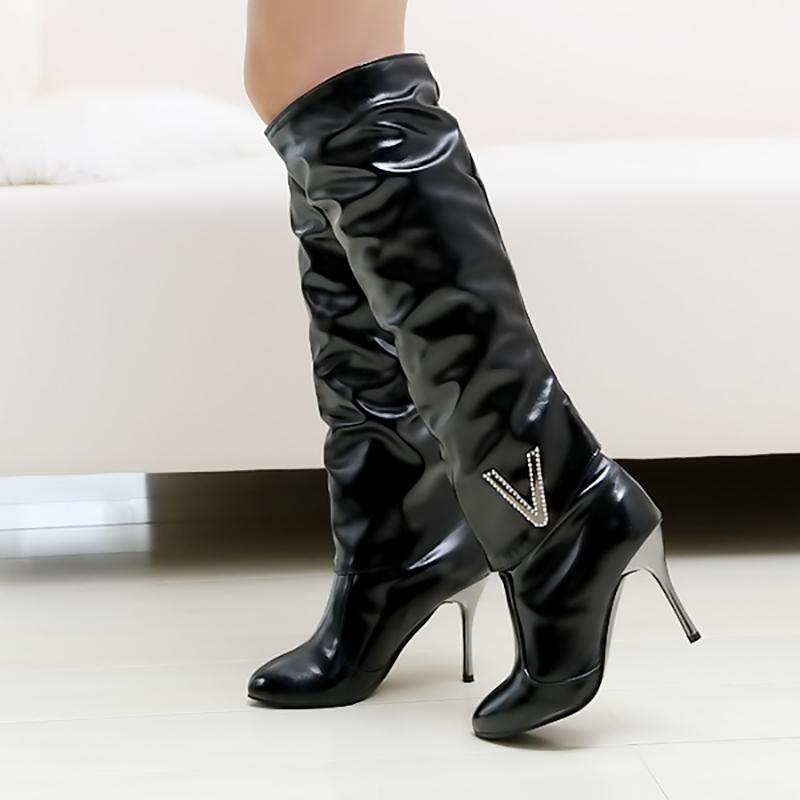 outlet store 84636 32e3e Mittlere Wade Stiefel 8 cm High Heels Frauen Schuhe Kniehohe Stiletto  Stiefel Kristall Schwarz Weiß Leder Mode Damen Plus Größe 43