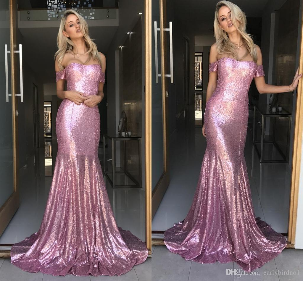 e9d2bf565be5d Rose Pink Off The Shoulder Sequined Mermaid Prom Dresses 2018 Elegant Sweep  Train Formal Long Evening Dresses Women Party Gowns Prom Dresses London Prom  ...