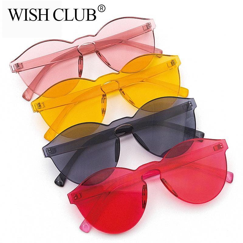 Compre WISH CLUB Gafas De Sol De La Lente De Moda Mujeres Gafas De Plástico  Transparente Hombres Gafas De Sol Sin Marco Gafas De Sol De Mujer Color  Caramelo ... 2f1ba62ebd0b