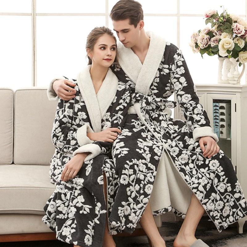 011b7aad793f 2019 Lovers Winter Long Flower Flannel Thick Bathrobe Women Men Coral Fleece  Kimono Bathrobe Women Men Robes Dressing Gown From Lucycloth