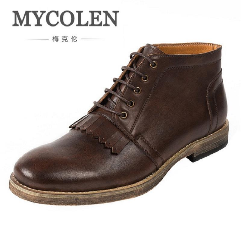 b66dbcec478e7 MYCOLEN Brand Handmade Vintage Lace Up New Genuine Leather Mens Platform  Ankle Boots Breathable Work Shoes Brown Erkek Bot