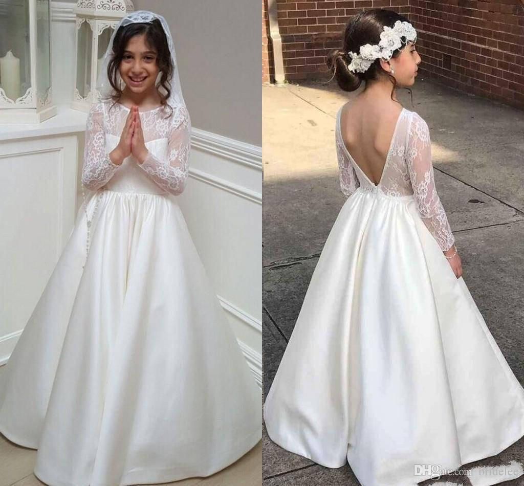 2019 First Communion Dresses Jewel Lace Long Sleeves V