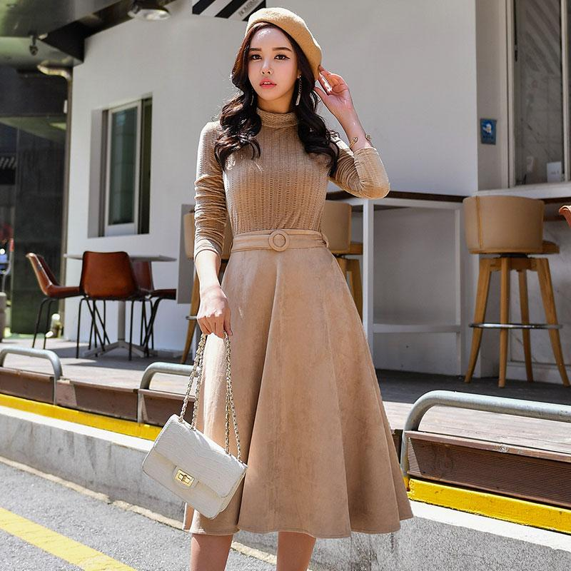 bee3ce1698559 2019 Dabuwawa Autumn Winter Dress 2018 New Vintage Turtleneck Slimming A  Line Full Sashes Mid Calf Empire Dress From Berniee, $62.19 | DHgate.Com