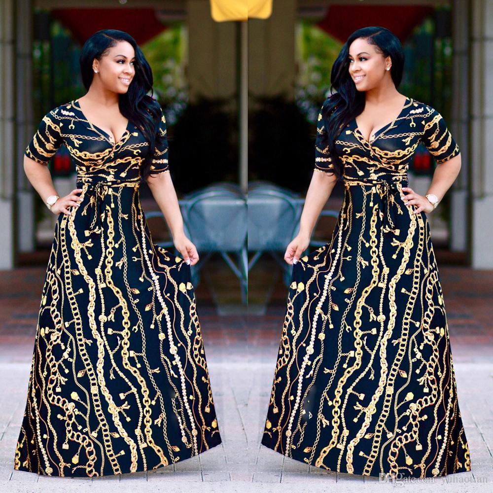 3bd122445ea6 New 2018 Fashion Women Dress Plus Size Flower Print Long Dresses Women Long  Sleeve Autumn Winter V Neck Party Eveing Maxi Dress Elegant Evening Dresses  ...