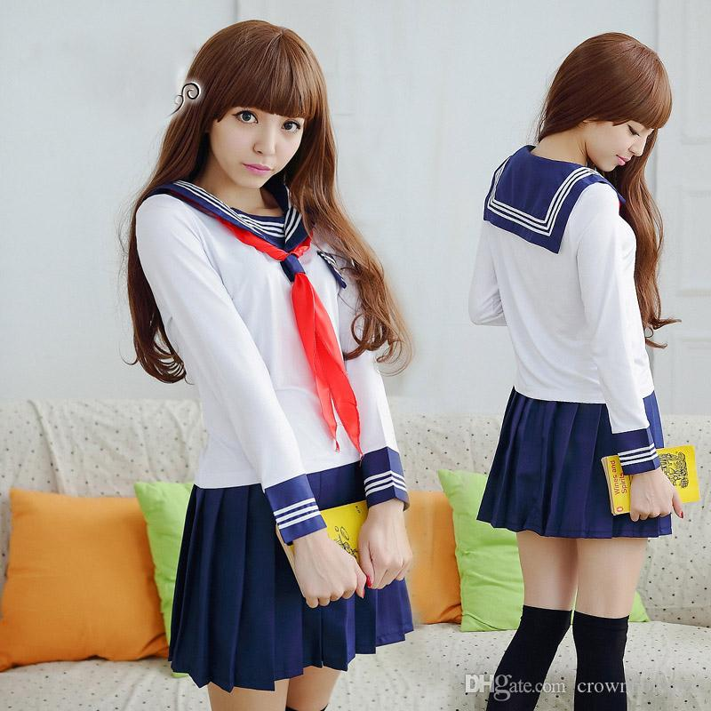 a7694b5fa3 Girls Japanese School Uniforms For JK Sailor Short Sleeved T Shirt Preppy  Style College Sexy Suit Skirt Female Cosplay Costume Couple Halloween  Costumes ...