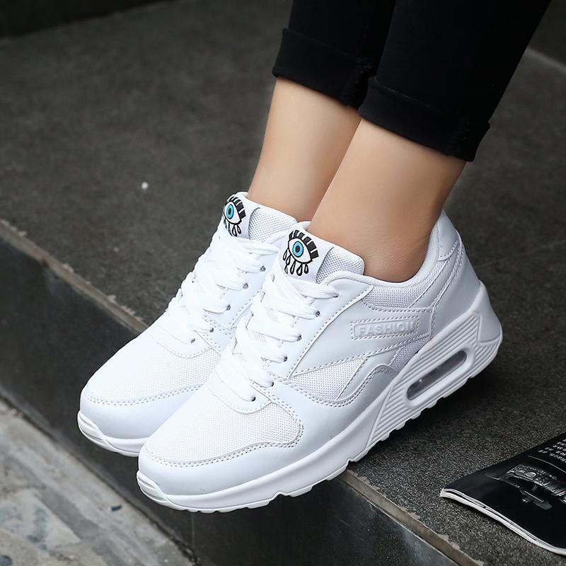 3b4f0983a Compre 2019 Casual 2018 Moda Coreano Mulheres Sapatos Primavera Tenis  Feminino Casual Sapatos Formadores Brancos Malha Sapatos De Mulher Lace Up  Senhoras ...