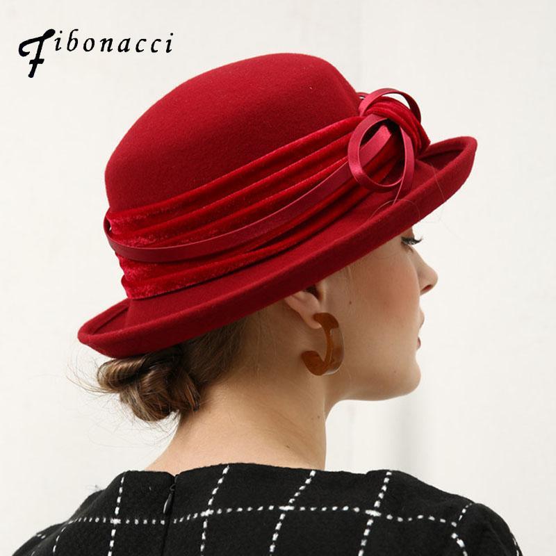 2f221059f94 Fibonacci Fedoras Wool Felt Hat Female Flanging Velvet 8 Words Bow ...