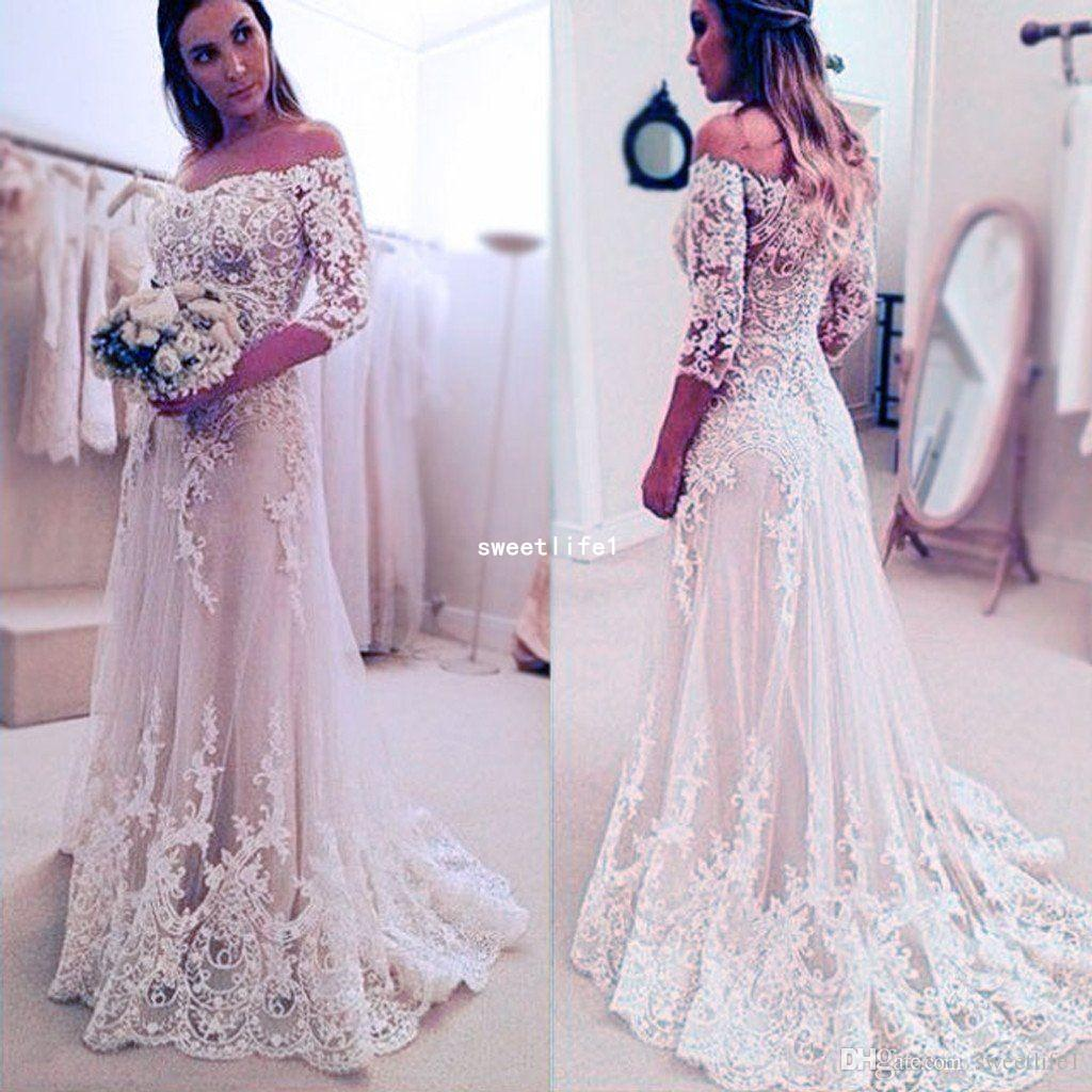 2019 Rustic Country Style Wedding Dresses Off The Shoulder 3/4 Long Sleeve A Line Lace Appliques Garden Boho Bridal Gown Custom Made