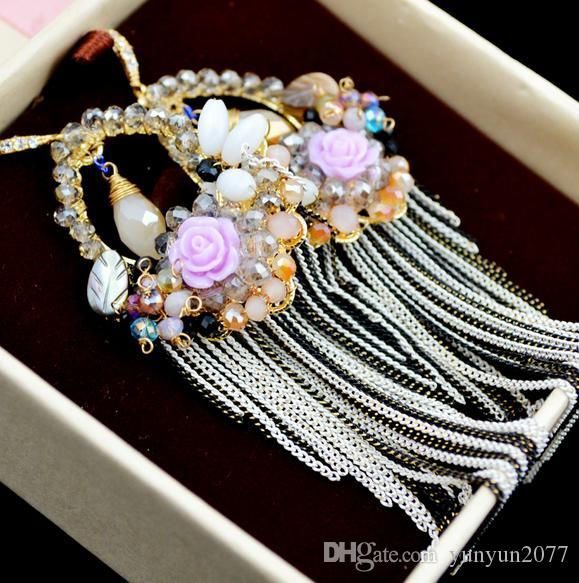 Bohemia Luxury Handmade Rose Flower Crystal Beads Tassel Bride Wedding Patry Women Water Drop Earrings High Quality Fine Jewelry Accessories