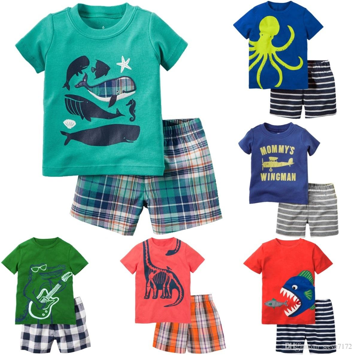 620e81c8b56 2019 Shark Fish Baby Boy Clothes Set Toddler Tee Shirts Pant Clothing Suit  Children Outfit Cotton Kids Short Pants Tops 1 5Y Tracksuits From  Steve7172