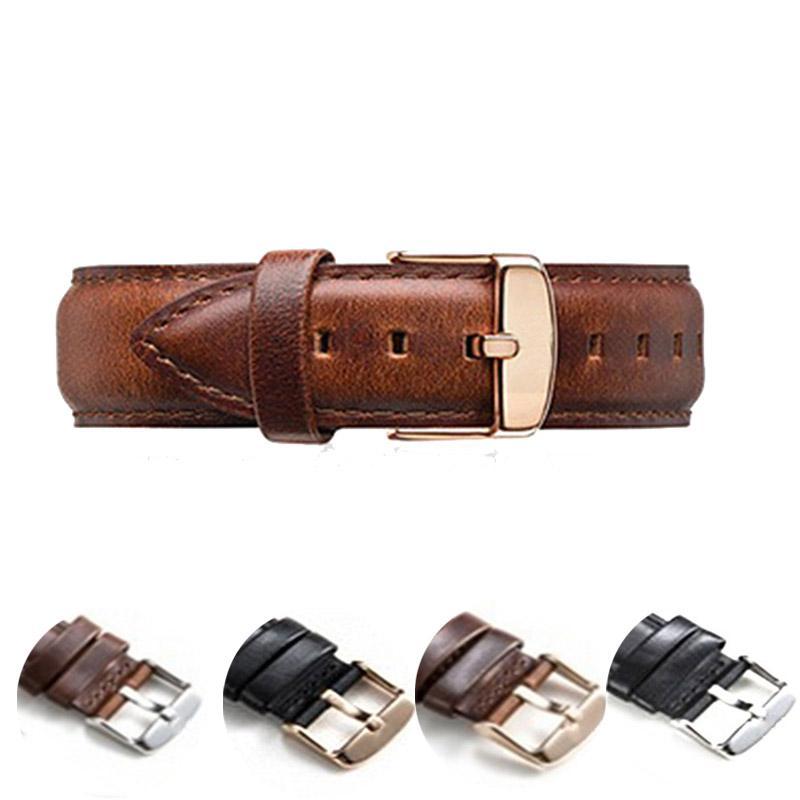 2ecfa0cc4b11 Correa de cuero para hombre reloj de pulsera para mujer 18 mm 20 mm Correa  cuero oro plata negro marrón
