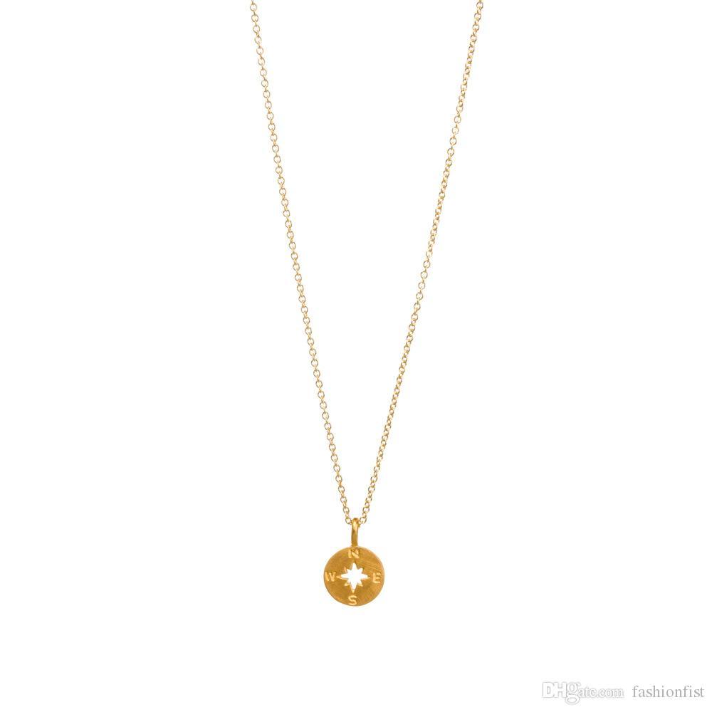 Moda Colar Dogeared bússola Pingente, COM CARTÃO cor de ouro nobre e delicado gargantilha colar, nenhum desvanecer-se Colar de Jóias