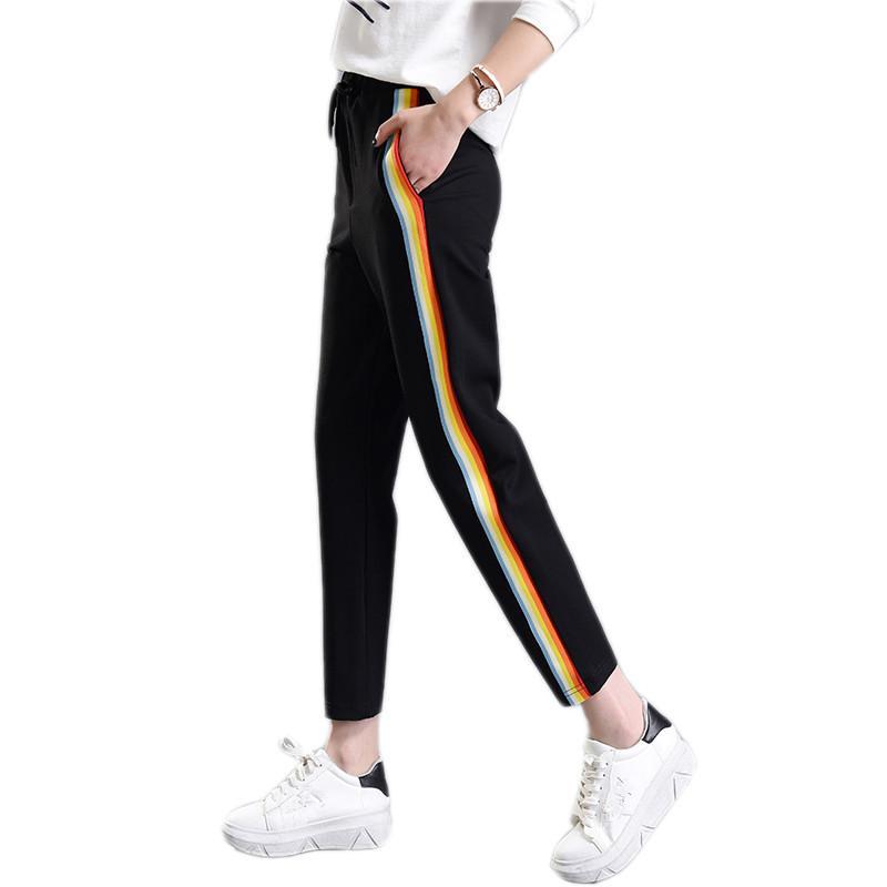 Compre 2018 Primavera Verano Mujer Pantalones De Chándal Ocasionales Del  Arco Iris De Rayas Impresa Lado Pantalón De Las Señoras Pantalones Sueltos  Joggers ... e1df48abaa55