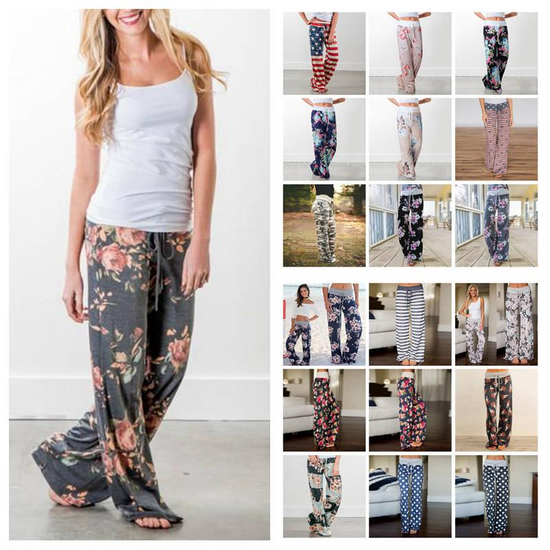 e7ad97b9293c Women Floral Yoga Palazzo Trousers 28 Styles Summer Wide Leg Pants ...
