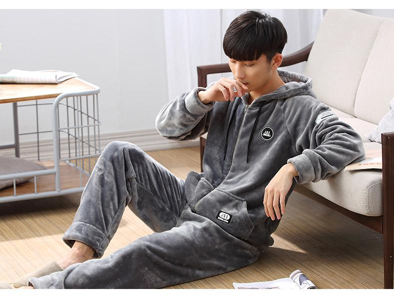 66d42dabec06 2019 Fashion New Winter Men Clothing Pajamas Sets Adult Buttons Solid Long  Sleeved Coral Fleece Sleepwear Homewear Clothing Warm From Pandawomen