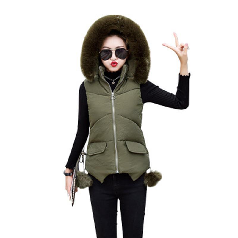 b3d83aa7dae Autumn Winter Women Vest Coat New Big Fur Collar Sleeveless Jacket ...