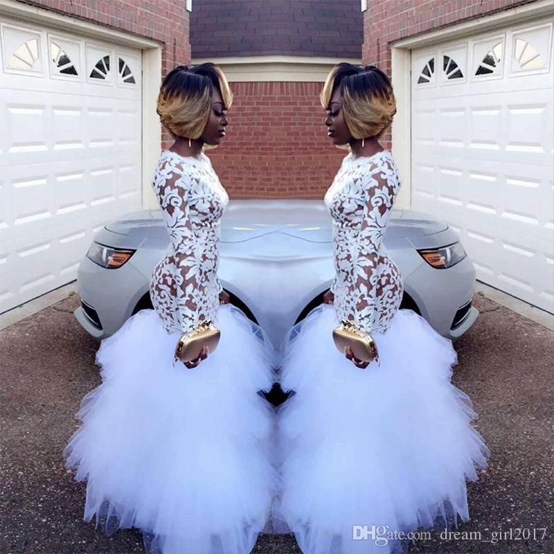 2018 afrikanische Weiße Meerjungfrau Spitze Abendkleider für Schwarze Mädchen Mit Langen Ärmeln Rüschen Tüll Bodenlangen Plus Size Abendkleider Vestidos