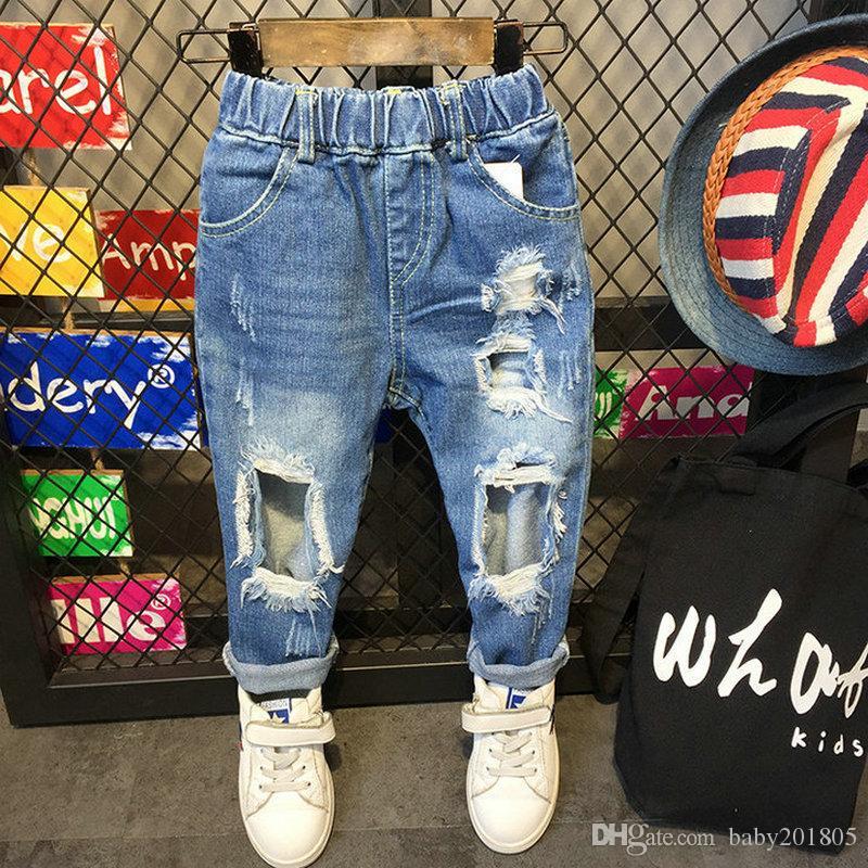ded1d8fbf Compre Atacado Crianças Calças Casual Moda Jeans Crianças Roupas Harem Pants  Denim Calça Jeans Azul Calças Compridas Boy And Girl Stripe Jeans De  Baby201805 ...