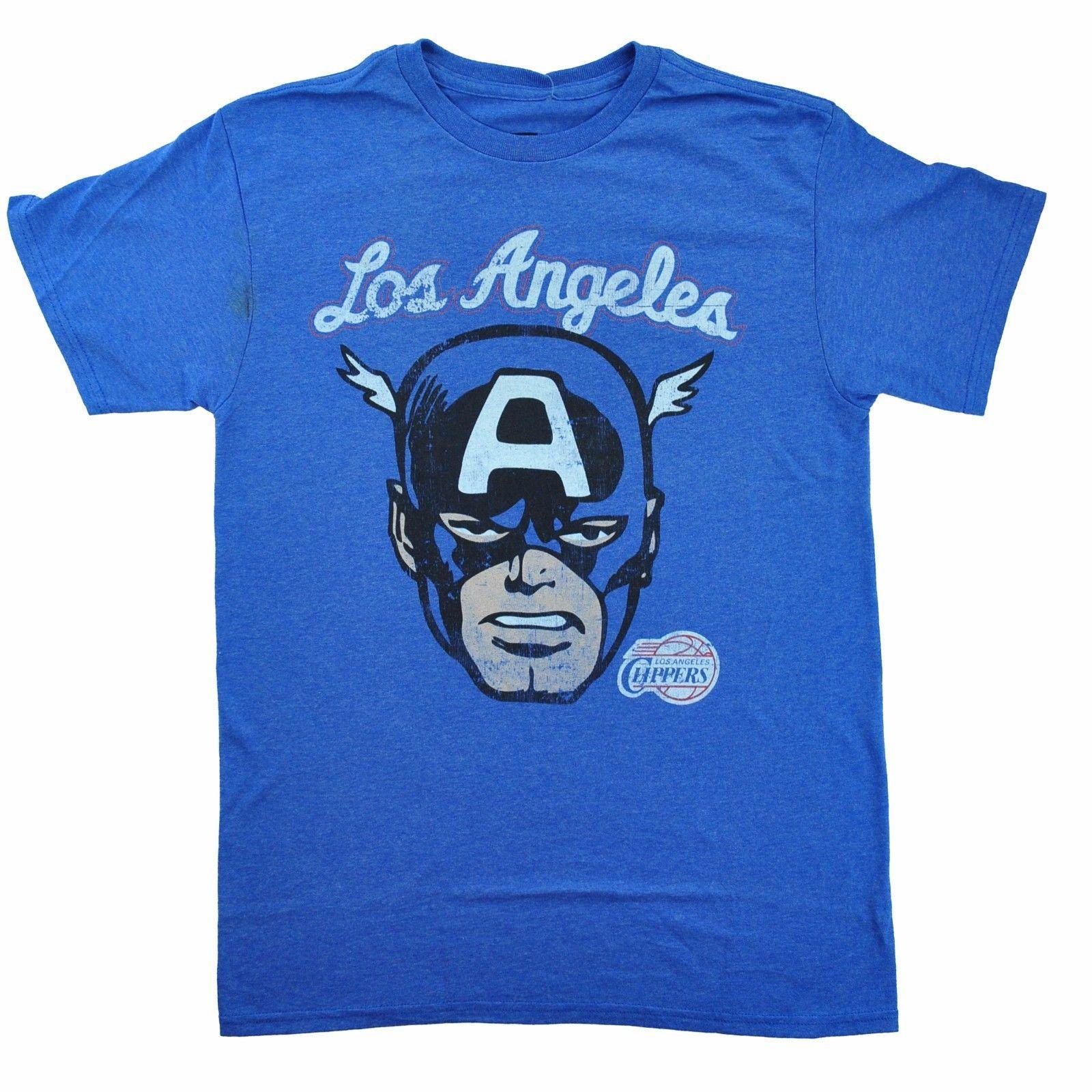 c866407d3 LA Clippers Captain America Marvel Comics Mens Tee Comfortable T Shirt  Casual Short Sleeve Print 100% Cotton Short Sleeve T Shirt Awesome T Shirts  Online ...