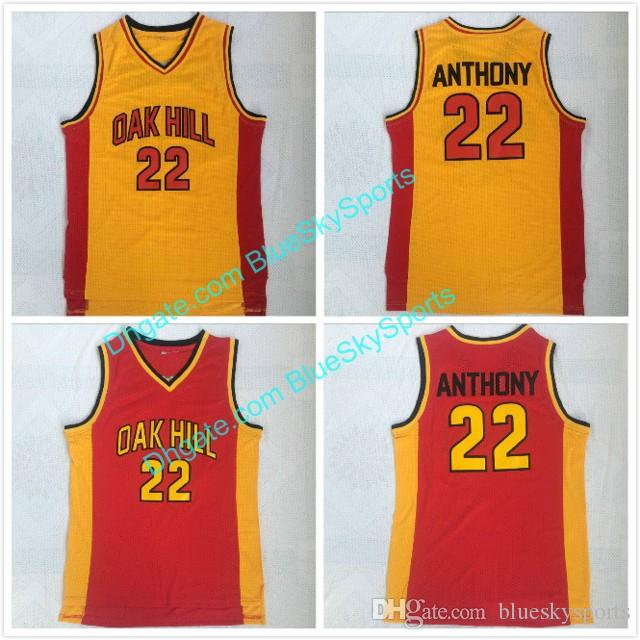cbdfc0a0573e 2019 Men S Anthony High Quality Stitched Oak Hill High School Basketball  Jersey Carmelo  22 Yellow Red Size S XXL From Blueskysports