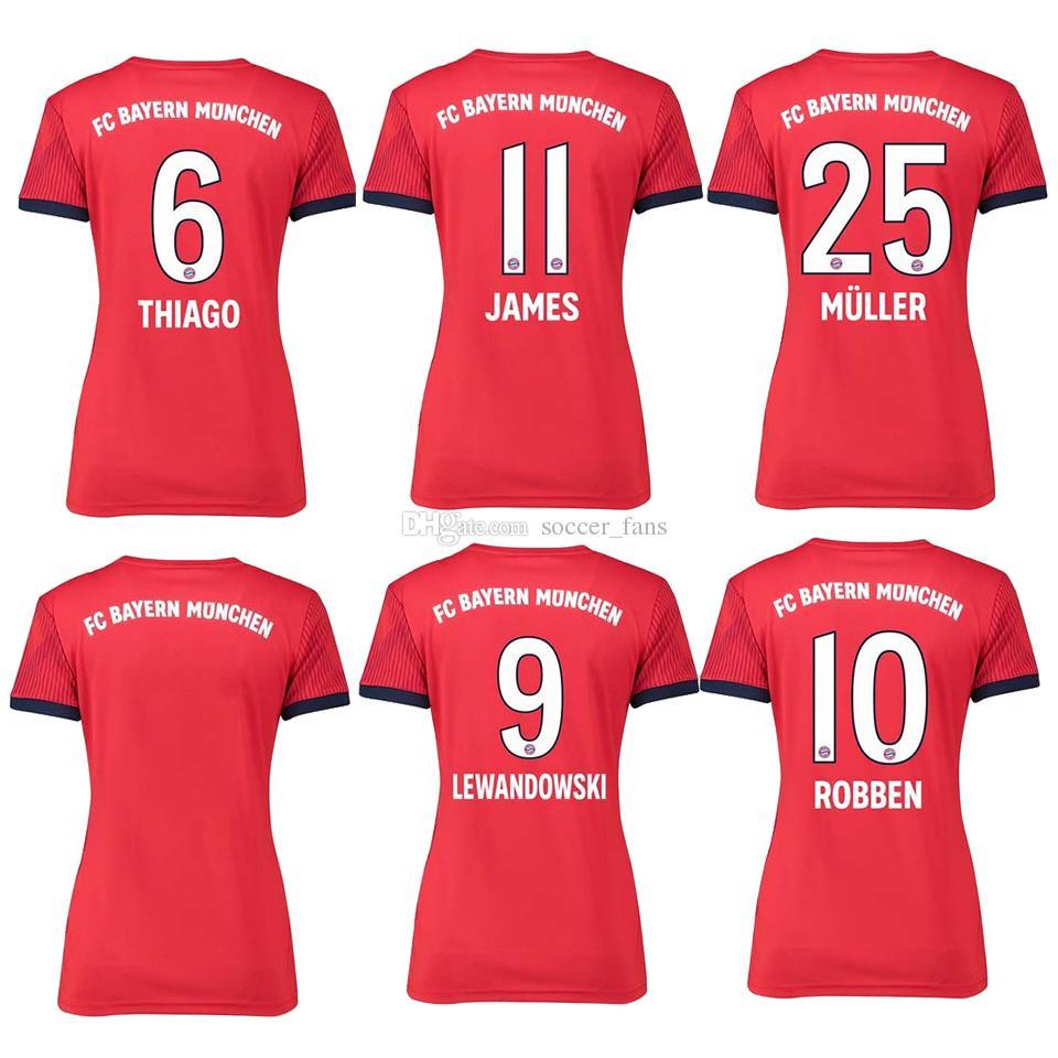 2019 Women  25 MULLER Home Soccer Jersey 18 19 Woman Soccer Shirt ... b12e72d85
