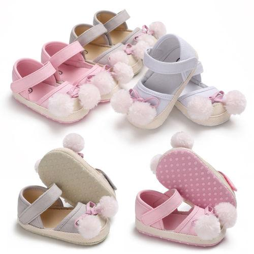 e410a9ef107c Newborn Baby Girl Pom Pom Summer sandals Crib Shoes Infant Toddler Soft  Sole Shoes Size 0-18 M