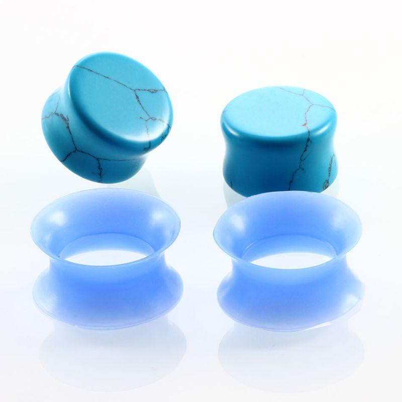 10 Par Nature Ear Ear Tapones de Silicona Túneles Doble Flare Gauges Ear Camilla Earlet Expanders Body Piercing Jewelry 6-16mm Mix Colors